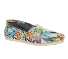 Toms Seasonal Classic Slip On White Birds Of Paradise - Flats