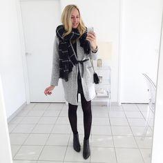 «G r e y  #outfit #todayimwearing • manteau (new co) #zara • écharpe #zara • ceinture #isabelmarant • blouse #bash • jupe #bash • bottines #zara • sac…»