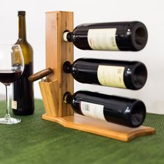 Countertop Wine Bottles Rack Brown Wood Stand Holder Shelf Bar Display Cork Open for sale online Wine Rack Shelf, Wine Shelves, Wood Wine Racks, Glass Bottle Crafts, Glass Bottles, Wine Bottles, Wine Bottle Rack, Wine Glass Rack, Wood Pallet Furniture
