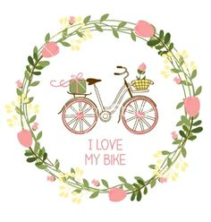 Floral wreath and bike vector by neyro2008 on VectorStock®