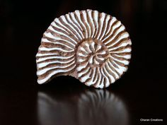 Hand Carved Indian Wood Textile Stamp Block- Shell. $12.50, via Etsy.
