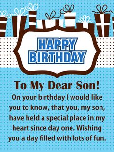 88 best birthday cards for son images on pinterest in 2018 send free special place in my heart happy birthday card for son to loved ones on birthday greeting cards by davia its free and you also can use your m4hsunfo