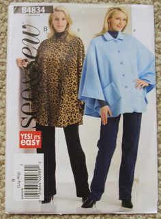Butterick See and Sew B4834 Misses Poncho Size by mungermuffin, $3.00