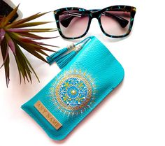 Personalized Leather Glasses Case - Leather Eyeglass Case - Sea Blue Sunglasses case - leather Glasses box - Glasses bag - Gift for women  This original Sea Blue hand-painted Leather Glasses Case with tassels is a great gift for women, for a daughter, mother, grandmother, sister or girlfriend. This Eyeglass Case with a amazing pattern Mandala looks wonderful. This is design ideal solution for protecting your glasses. This Eyeglass Case lightweight and takes up little space in your bag  If…