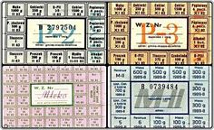 Polish food stamps from the Communist era. These were given out monthly (I believe) with an employee's pay. The foods which were rationed were flour, candy, chocolates, detergent, cigarettes, alcohol, soap, oil/lard, meat (all by grams/packs/bottles), and milk (by liters). Other items you could buy with cash, but it by no means meant that they were even available.