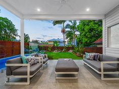 An excellently designed family home that makes the most of its location. This home has been meticulously designed to have a spacious and homely. Outdoor Furniture Sets, Modern Pools, Outdoor Decor, House, Home And Family, Custom Built Homes, Outdoor Living, Building A House, Breezeway