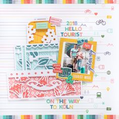 Pinkfresh Studio Out and About Travel Scrapbook Layout by Flóra Mónika Farkas 12x12 Scrapbook, Travel Scrapbook, Scrapbook Albums, Scrapbooking Layouts, 5th Birthday, Happy Birthday, Liquid Watercolor, Cardmaking, Blog