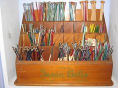 Vintage knitting needles stand