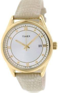Timex Women's Classic T2P556 Beige Leather Quartz Watch