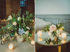 woodsy, greenery centerpieces