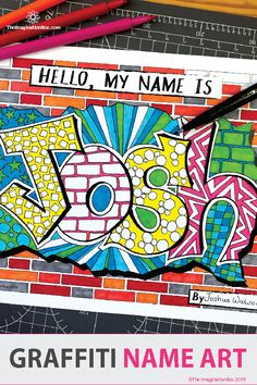 First week back graffiti name art fun! Get to know upper elementary and middle school kids with this Middle School Art, Art School, School Kids, Name Art Projects, Projects For Kids, Graffiti Art, All About Me Art, Elementary Art, Upper Elementary
