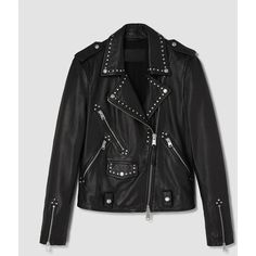 AllSaints Vettese Studded Leather Biker Jacket ($595) ❤ liked on Polyvore featuring outerwear, jackets, black, genuine leather biker jacket, leather rider jacket, moto jackets, motorcycle jacket and rider jacket