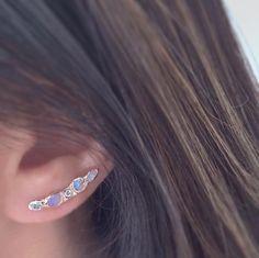 Misa Jewelry - Journey Treasure Mermaid Ear Crawler so magical! | opal | diamond | aquamarine | ear climber | rose gold | bridal