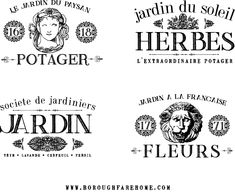 French Flowers, Faux Flowers, Printable Labels, Free Printables, French Country Crafts, Garden Labels, Free In French, Painted Pots, Vintage Labels