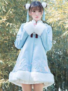 Hanfu Lolita Coat Stand Collar Long Sleeve Tweed Two Tone Embroidered Light Blue Lolita Overcoat Pop Fashion, Kimono Fashion, Kawaii Fashion, Lolita Fashion, Cute Fashion, Asian Fashion, Manga Clothes, Kawaii Clothes, Blue Kimono