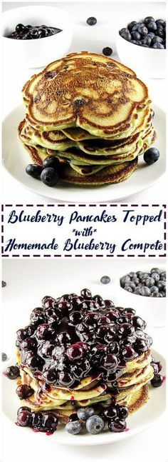 Blueberry pancakes are the BEST, and this recipe won't disappoint. Plump, juicy blueberries and sweet compote are in each bite of this breakfast classic. via @berlyskitchen