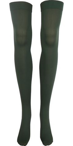 Solid Opaque Thigh High in Olive