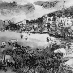 Liz Churton: pen and wash drawing for the Chatsworth exhibition starting 10 May 2014 at gallerytop
