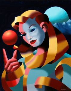Mark Webster - The Golden Age #1 - Abstract Surrealist Mask Oil Painting, original painting by artist Mark Adam Webster | DailyPainters.com