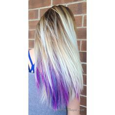 blue lilac underlights in blonde hair