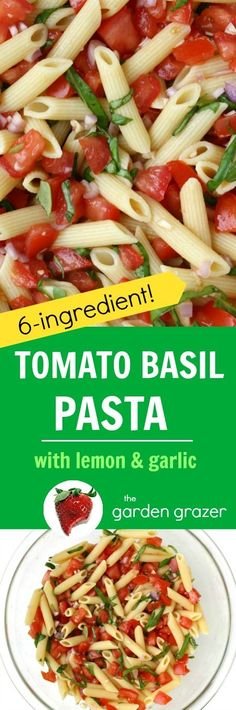 EASY, 6-ingredient Summer Fresh Tomato and Basil Pasta bursting with bright lemon and garlic! A quick and easy dish for those ripe garden tomatoes and basil! (vegan)
