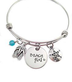Bracelet jonc de plage fille - main estampillée - bracelet fil extensible - plage bijoux - Flip Flop - verre de mer - Summer Beach bijoux