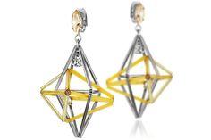 Boucles d'oreilles clips Raijin, métallisation en argent, cristal Swarovski Delphine-Charlotte Parmentier