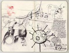 """Kristina and Also Drunken Scrawl,"" ballpoint pen in moleskine, 18 x 14 cm, 2009"