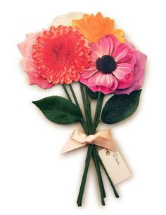 How cute are these....? Paper Flowers Gift Enclosures, Mixed Bouquet