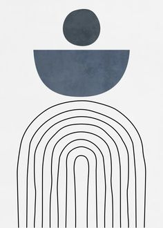 Quadro Decorativo - GEOMETRIC LINES AND SHAPES - BLUE