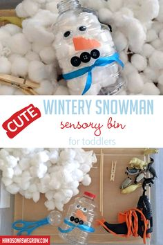 Love this simple winter theme sensory bin for independent play! Toddler Sensory Bins, Toddler Fun, Toddler Preschool, Toddler Activities, Sensory Play, Sensory Activities, Winter Activities For Kids, Winter Crafts For Kids, Winter Fun
