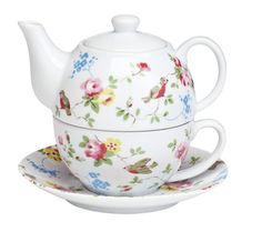 Cute tea set for one. Great for working at your desk. Don't have to get up to make another cup, just pour from the pot