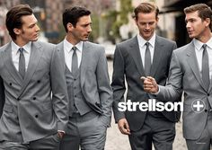 Light grey for groomsmen and darker grey for groom.  the groom can stand out too :)
