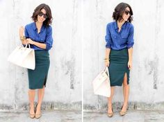 fashion event style: BOY MEETS GIRL. this ladylike pencil skirt seems more effortless with a relaxed mens shirt.