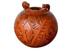 Incised Pueblo Pot w/ Two Bears