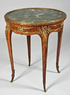3351: Louis XV style bronze mounted side table signed F : Lot 3351