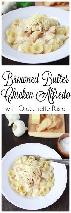 Browned Butter Chicken Alfredo with Pasta on www.cookingwithruthie.com is so easy to make and is sure to impress even your very pickiest guests!