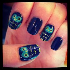 Emily Jones painted these owls freehand. What a hoot! #manicure #nails
