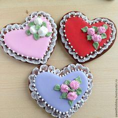 Купить Пряники имбирные Сердце - разноцветный, пряники, имбирные пряники, имбирное печенье, подарок, кчаю