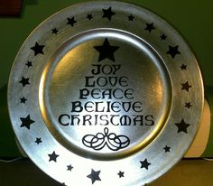 Christmas charger black vinyl letters