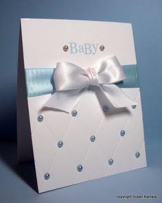 Quilted bottom baby card with ribbon and embellishments. Perfect for baby shower, baby announcement, etc