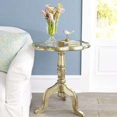 W6599Plated Moroccan Side Table Side Tables & Pedestals