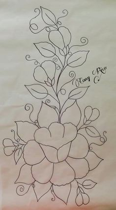 Hand Quilting Designs, Border Embroidery Designs, Floral Embroidery Patterns, Embroidery Stitches, Machine Embroidery, Painting Patterns, Fabric Painting, Broderie Simple, Fabric Paint Designs