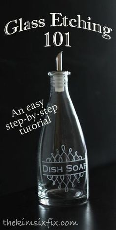 Step by step tutorial on how to etch glass using stencils and etching cream.  SUPER EASY!