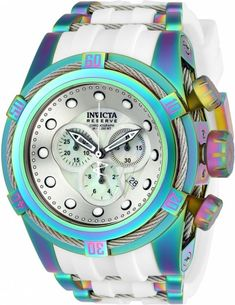 Men's Bolt Chronograph Iridescent Stainless Steel with White Silicone Silver Dial - Invicta - Shop by Brand | World of Watches