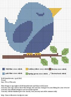 Free, cute bluebird cross stitch pattern.  (this doesn't link to the site, but the web address is on the bottom of the pattern.....)