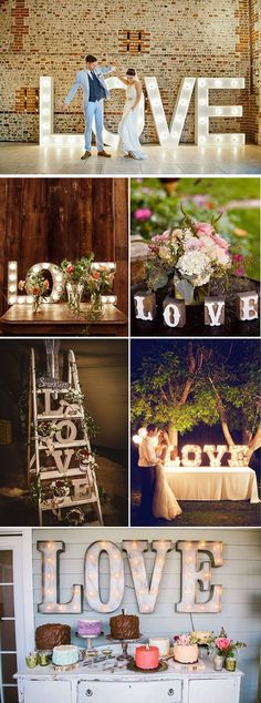 Decoración de boda con letras LOVE gigantes luminosas