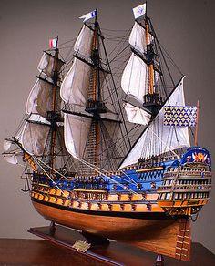 """ROYAL LOUIS 42"""" wood model ship historic French tall sailing boat"""