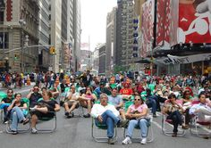 Phase 1 of the new Times Square simply added lawn chairs. Credit: New York City Department of Transportation.