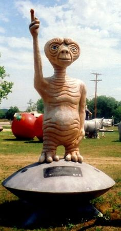 A giant statue of ET trying to phone home in Sparta, Wisconsin    Read more: http://www.nydailynews.com/life-style/world-largest-roadside-attractions-gallery-1.39761#ixzz2EcqdKKbV